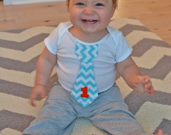 Baby boy first birthday ite one piece bodysuit, chevron, teal, orange, number 1, photo prop, birthday shirt