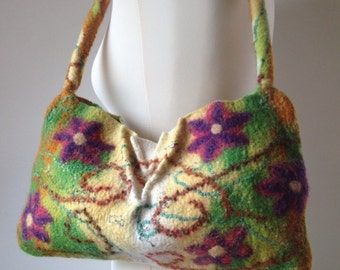 Wet Felted Bag,Floral Handbag Shoulder Bag, Chevron, Purple, Pink, Green, Cream.