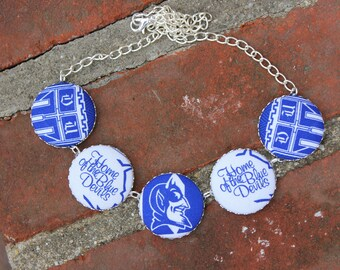 Duke University Fabric Covered Button Necklace