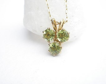 Natural Gemstone Peridot or Natural Gemstone Amethyst Faceted 4mm Three Stone Dainty 14 kt Yellow Gold Filled Pendant with Chain