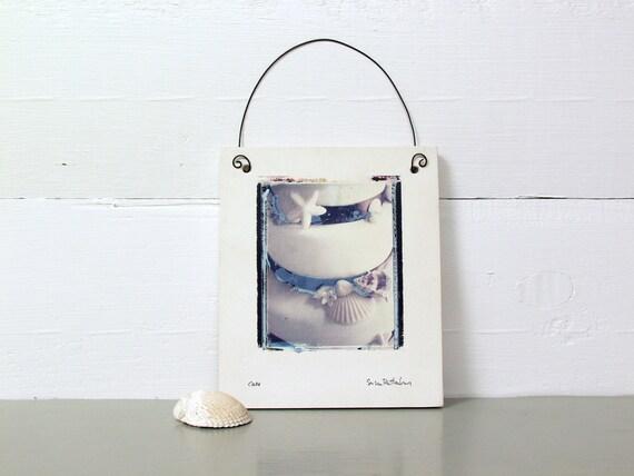 Wedding Cake With Shells.  Polaroid Image Transfer Printed on Ceramic Slab.   Emulsion Lift on Clay.  Sea.
