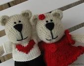 Heart Bear Plush - Knit Bear Couple - Knit Teddy Bear - Plush Doll - Valentine Toy - Hand Knit Bear - Stuff Animal - Custom Toy - Kids Toy