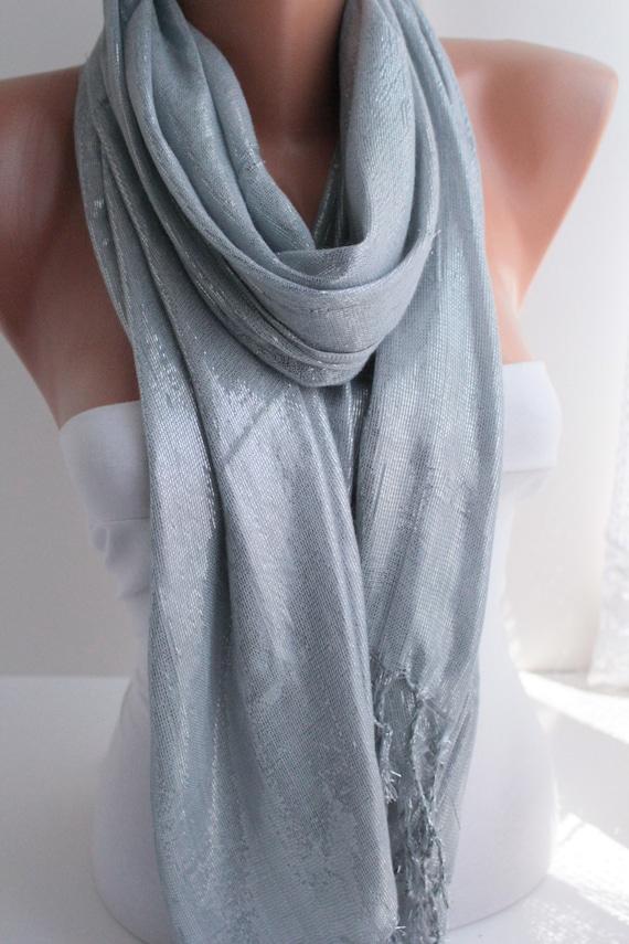 Silver Scarf Shawl Silver Glitter scarf Headband Cowl with raw edge scarf