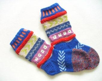 Hand Knit Wool Socks -Colorful Socks for Women -Wool Socks Size Medium-US W7,EU38