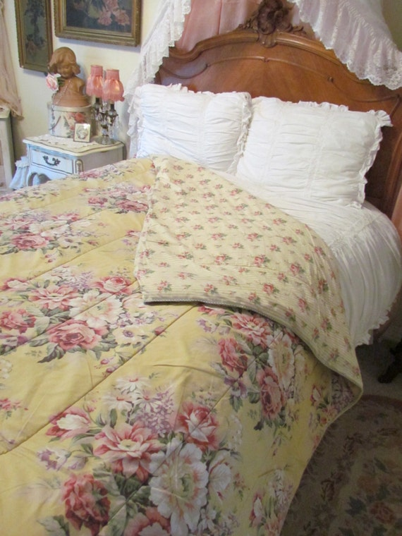 Ralph Lauren Brooke Yellow Rose Comforter Bedspread Reversible