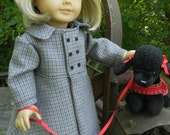 """18 inch Doll Coat, Dog and Hair bow """"Kit walks a dog""""  for you American girl or other 18""""dolls"""
