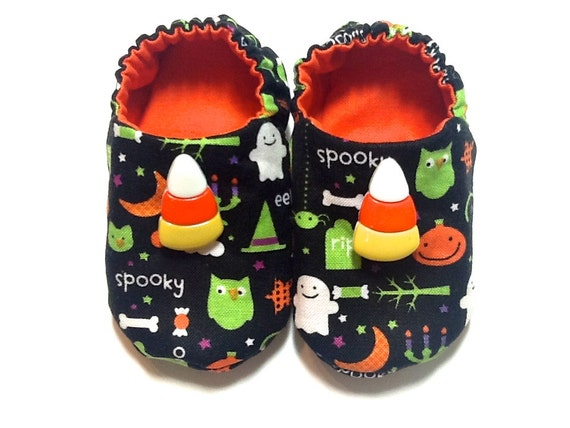 Halloween Baby Boy Shoes with Candy Corn, 0-6 mos. Baby Booties, Soft Sole Shoes, Halloween Crib Shoes, Slip on Baby Shoes Baby Boy Gift