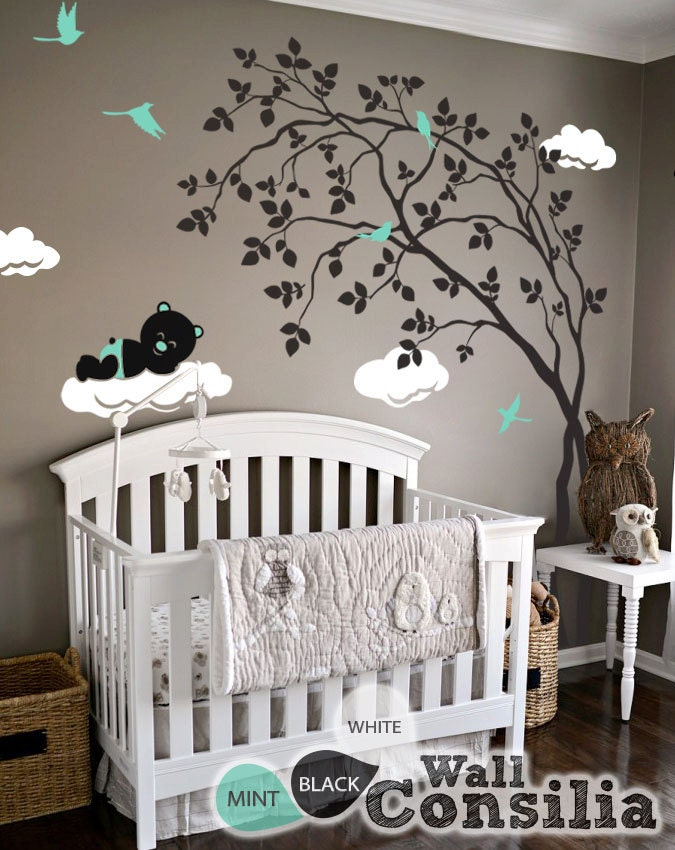 baby kinderzimmer wandtattoo baum wall decal aufkleber. Black Bedroom Furniture Sets. Home Design Ideas