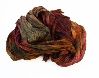 burgundy silk scarf - Byzantine -  brown, chestnut, burgundy, cherry silk scarf.