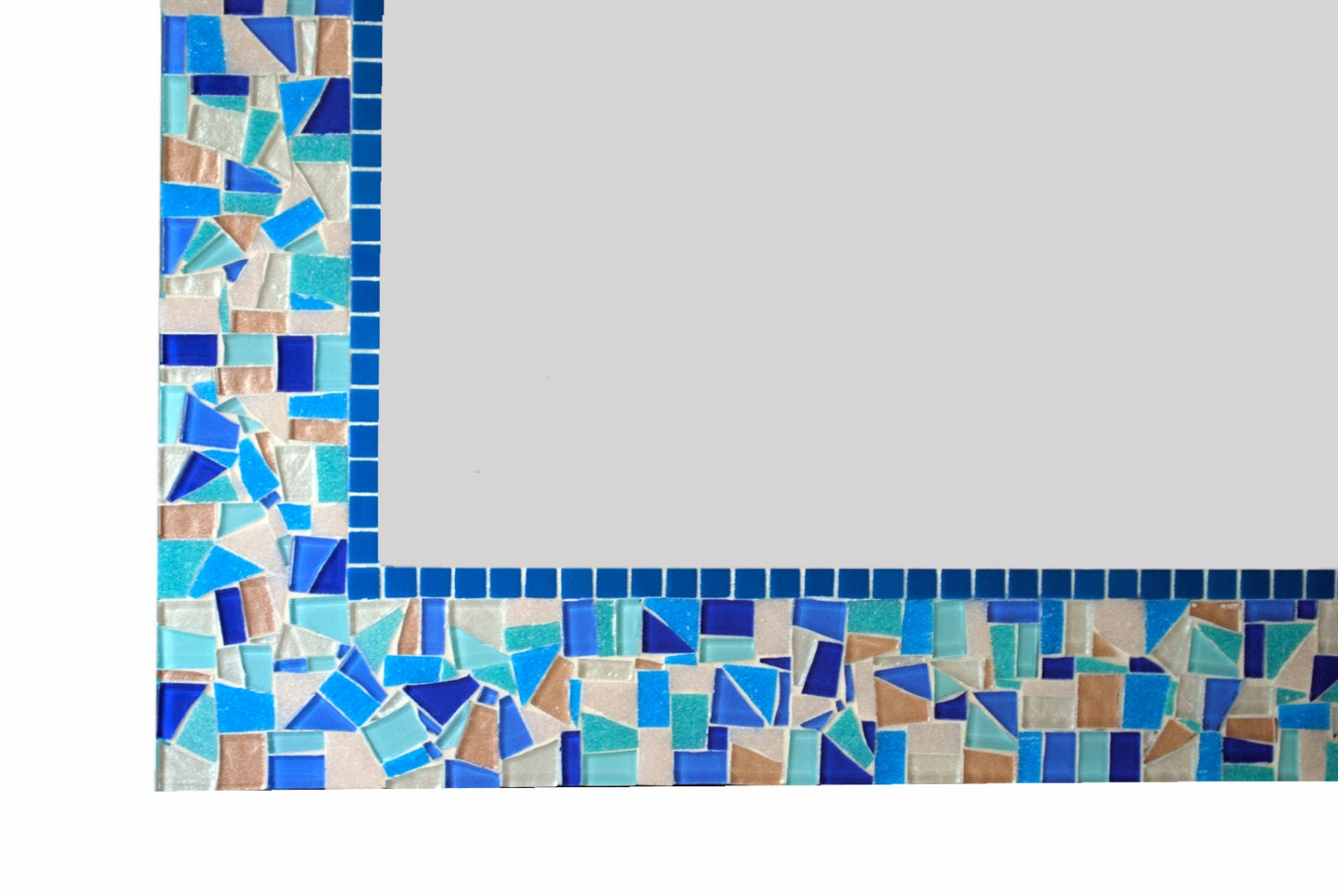 Blue mosaic mirror bathroom decor handcrafted wall art for Blue mosaic bathroom accessories