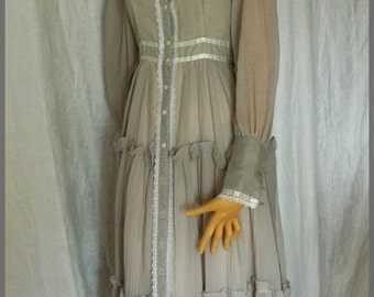 Vintage Gunne Sax Dove Grey Prairie Dress