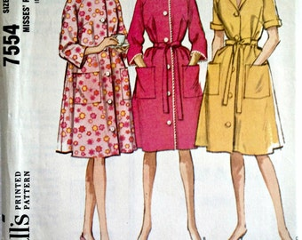 Misses Robe, Housecoat or House Dress with Self Tie Belt Vintage Sewing Pattern McCall's 7554 Size Small 10 - 12