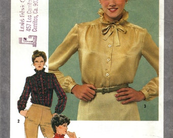 Misses Blouse with Detachable Jabot, Ruffles, Tie, Lolita, Kawii Simplicity 9713 Size 10 Bust 32.5