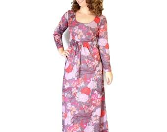 70s maxi dress. Vintage day dress. Psychedelic print dress.  Twee dress Mad Men fashion. Birds print dress. Mauve, pink, terracotta dress.
