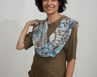 Blue geometric ornament hand painted silk scarf . Geometric abstract pattern scarf. Natural navy silk scarf. Made to order.