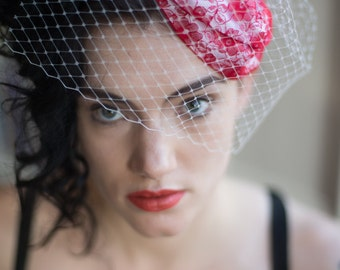 Red and White Vintafe Inspired Hat with Vintage Flower Brooch,White Birdcage Netting