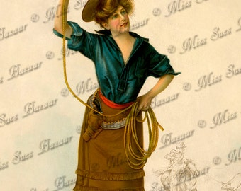 Instant Download or Print - Cowgirl with Lasso (C3)