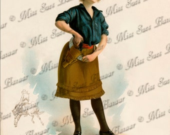 Intant Download or Print - Cowgirl pulling gun from holster (C7)