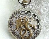 Dragon pocket watch, men's pocket watch with bronze dragon on front cover of watch