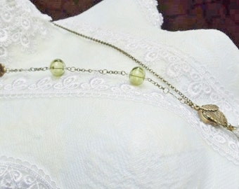 Skeleton key necklace with green hand blown glass hollow beads and Crystals