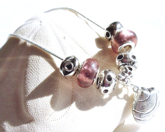 Beach theme necklace, clam shell necklace with Tibetan silver clam charm,  lampwork foil and Tibetan silver beads on snake chain