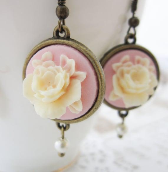 Pink Cameo Earrings - Regency Style Swarovski Pearl Vintage Rose