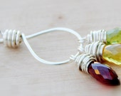 Colorful Gemstone necklace, yellow, green and maroon, garnet, peridot and citrine Gemstone Trio Necklace