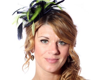 Navy Blue and Lime Green Feather Fascinator Hat - wedding, ladies day - choose any colour feathers and satin