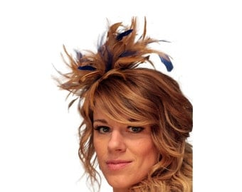 Gold and Royal Blue Feather Fascinator Hat - wedding, ladies day - choose any colour feathers & satin