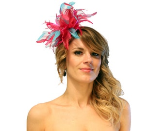 Hot Pink and Turquoise Feather Fascinator Hat - wedding, ladies day - choose any colour feathers & satin