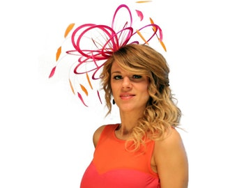 Hot Pink and Orange Feather Fascinator Hat - wedding, ladies day - choose any colour feathers & satin