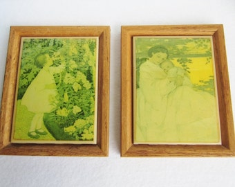 Vintage Framed Mother And Child Art Tiles, Framed Tiles, Nursery Decor, Green Wall Art, Hanging Tiles