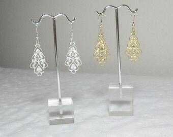 Silver Earrings, Gold Earrings, Filigree Earrings, Long Silver Earrings, Long Gold Earrings, 2 Inch long earrings
