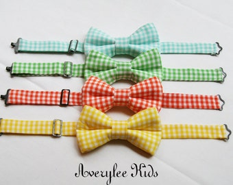 Boys Bow tie, Toddler Bow Tie, Check Bow Tie, Gingham Bowtie, Wedding Ring Bearer, Infant Bow Tie, Orange Bow Tie, Yellow Bowtie