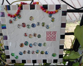 """Wall Hanging / Picture / """"A Mothers Love Blooms Eternal"""" / MOSAIC with Glass Beads"""