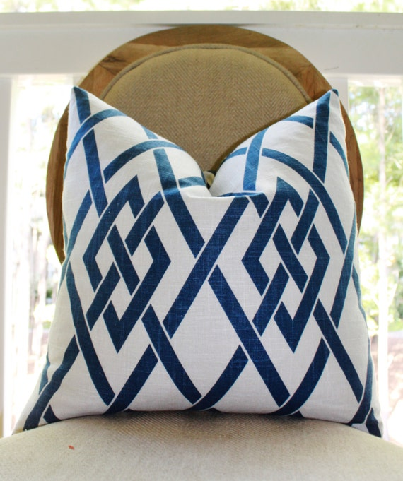 White Linen Throw Pillow : Decorative Pillow Blue White Linen Trellis Geometric Scroll