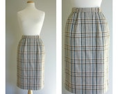 Vintage PLAID WOOL PENCIL Skirt/size XSmall-Small