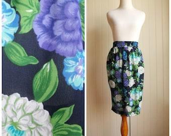 Vintage 80s Sheer Blues Floral Skirt By Leslie Fay// Sheer Day Skirt// Office Secretary Skirt