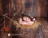 Newborn FISHING Hat with little fish - bucket hat - fishing set - photography Prop