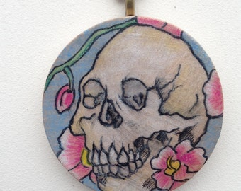 OOAK Skull and Orchid Drawing on 2 inch Wooden Disc