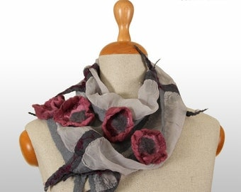 SALE!!!  felted shawl, nuno felted necklace, collar, gorget, shawl, rosy flowers - by inmano
