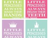 Princess art bathroom print little kid art print manners print educational print little girl