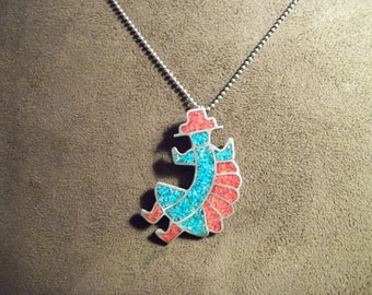 Men's Turquoise/Coral  Necklace  Native American