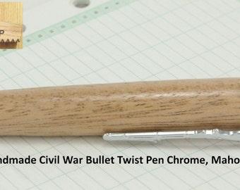 Civil War Bullet Pen Handmade Chrome, Mahogany