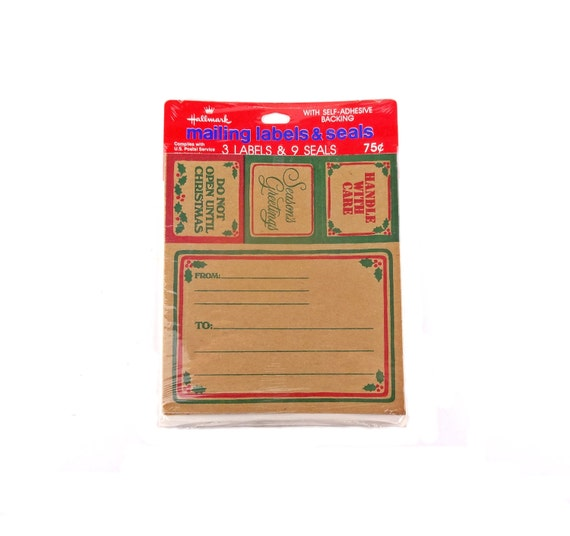 Vintage hallmark self sticking christmas mailing labels for Hallmark address labels