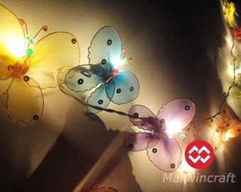Limited Edition Battery or Plug 20 Butterfly Bug Multi Colour Fairy Lights String Cute Party Patio Wedding Gift Home Decor Living room