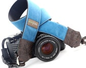 The 'Diego'  Blue Velvet Camera Strap with Quick Release Buckles -- 1.5 inches wide