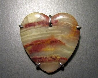Bargain -- Vintage OOAK Marble HEART Brooch in Sterling Silver -- Perfect for Valentines's Day!