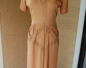 1940s Brown Embroidery Dress - The Brown Sugar Dress