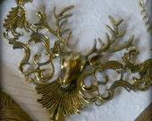 Reindeer Stag Deer Bib Style Necklace in Antique Brass